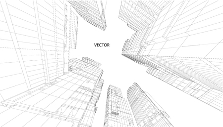 Abstract design. Modern architecture wireframe space Illustration