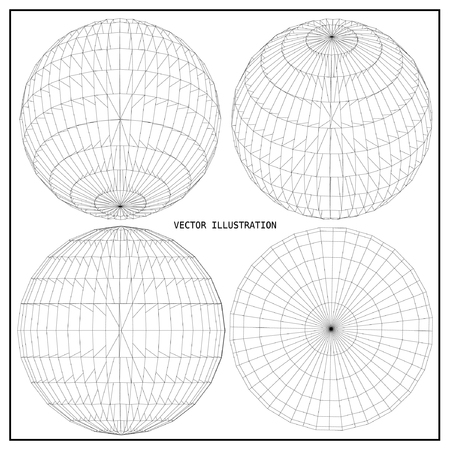 Wireframe mesh polygonal element. Sphere 3d.