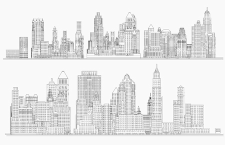 City view. Wireframe