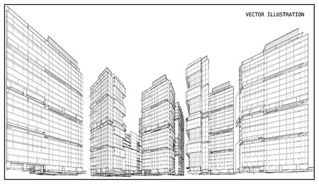 Perspektive 3D übertragen von Gebäude Drahtgitter- - Vektor-Illustration