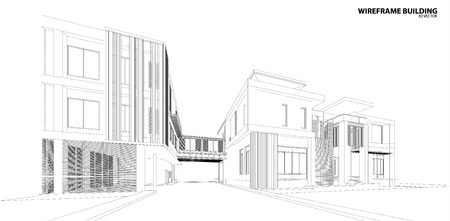 construction plan: Perspective 3d Wireframe of building
