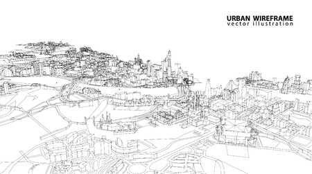 lijntekening: Cityscape Vector Sketch. Architectuur - Illustratie Stock Illustratie