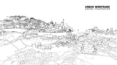 Paesaggio urbano di abbozzo di vettore. Architettura - Illustrazione Vettoriali