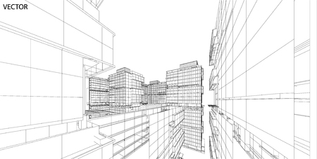 sky scrapers: Perspective 3d Wireframe of City View