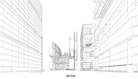 perspective: Perspective 3d Wireframe of City View