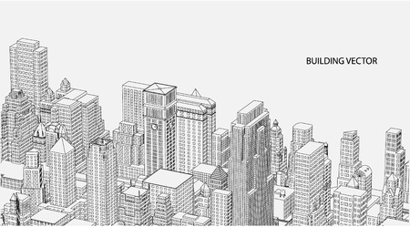 architect office: Perspective 3d Wireframe of City View