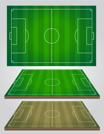 aerial view: A realistic textured grass football  soccer field. Vector Illustration