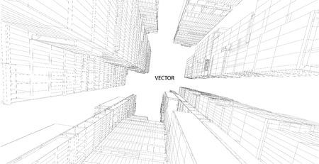 Perspectiva 3D alambre de edificio Ilustración de vector