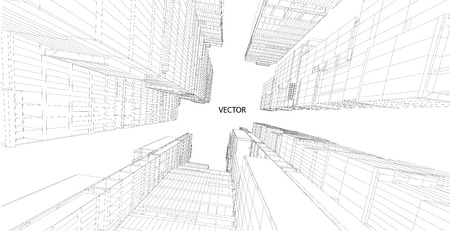 Prospettiva 3D wireframe di costruzione Vettoriali