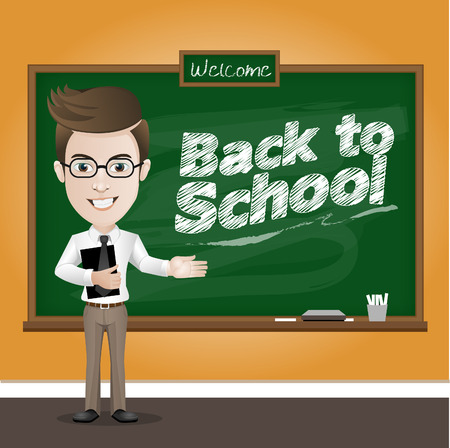 Vector illustration of a teacher and classic chalkboard in classroom Illustration