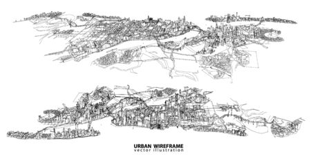 sketch: Cityscape Vector Sketch. Architecture - Illustration