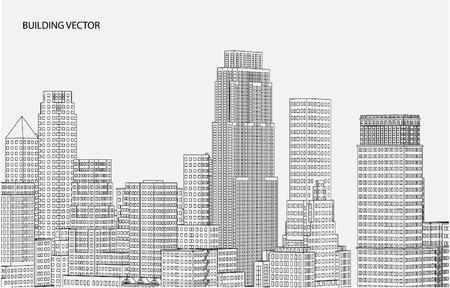 sky scrapers: Perspective 3d Wireframe of building