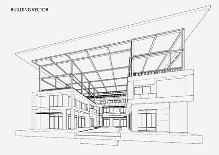 office plan: Perspective 3d Wireframe of building