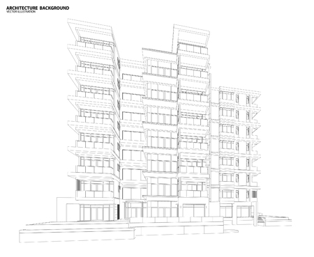 construction projects: Perspective 3d Wireframe of building
