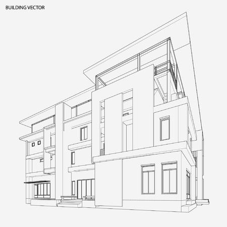 Perspective 3D-Drahtmodell Des Gebäudes Lizenzfrei Nutzbare ...