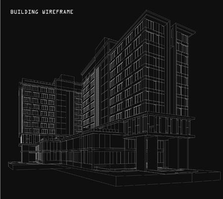 construccion: Perspectiva 3D alambre de edificio