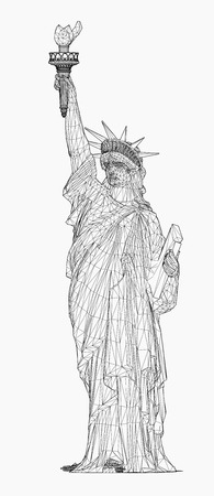 shilouette: Wireframe of Statue Of Liberty.