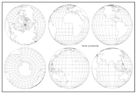World map with earth globes. Vector illustration