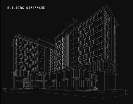 facade: Perspective 3d Wireframe of building