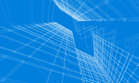 Abstract design. Modern architecture wireframe space Vettoriali