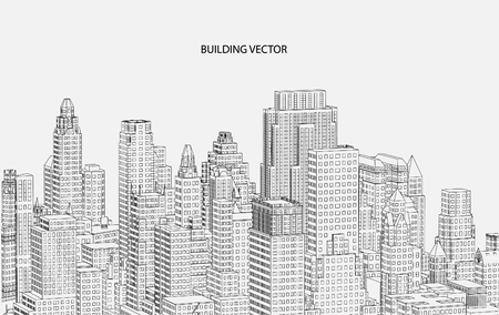 realestate: Perspective 3d Wireframe of building