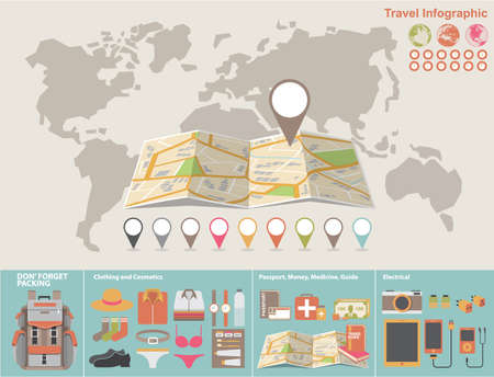 travel icon: Vector world map with infographic elements.