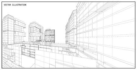 Perspective 3D render of building wireframe - Vector illustration