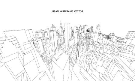 Perspectiva 3d alambre de vistas a la ciudad