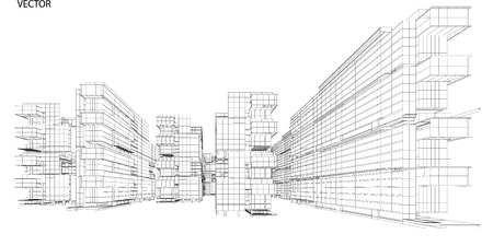Perspective 3d Wireframe of City View