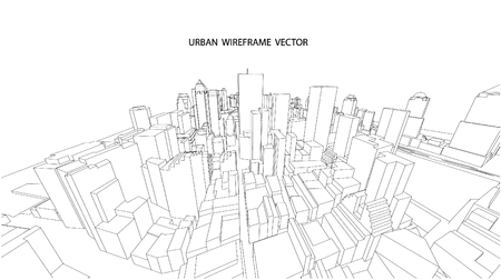sky scraper: Perspective 3d Wireframe of City View