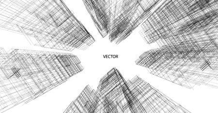 Prospettiva 3D wireframe di costruzione