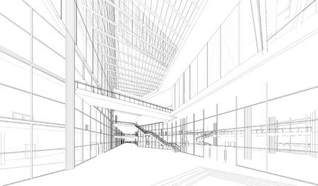 render: Perspective 3D render of building wireframe - Vector illustration