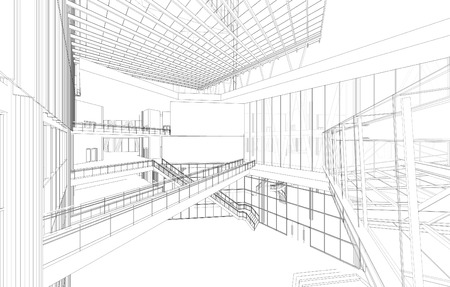 architecture: 3d wireframe of building
