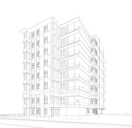 construction projects: Perspective 3D render of building wireframe