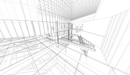 house render: Perspective 3D render of building wireframe