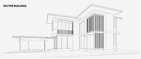 housing: Perspective 3D render of building wireframe - Vector illustration