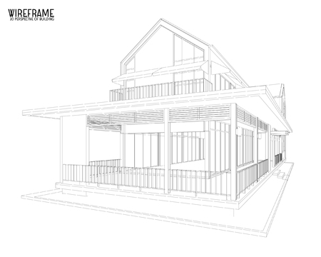 design drawing: Perspective 3D render of building wireframe - Vector illustration