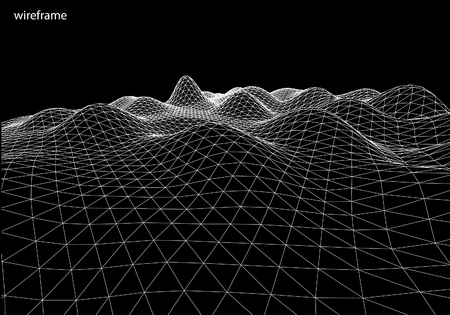 3D-Drahtlandschaft, Kontur. Vektor