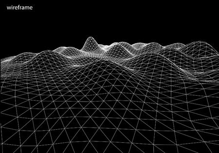 3D Wireframe Terrain, contour.   Vector