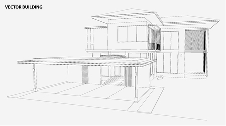 house drawing: Perspective 3D render of building wireframe - Vector illustration