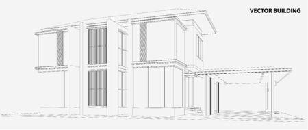 case moderne: 3D wireframe della palazzina