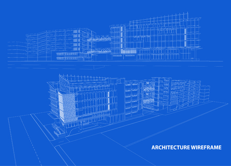 house illustration: 3d wireframe of building