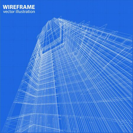 modern architecture: Abstract design. Modern architecture wireframe space Illustration