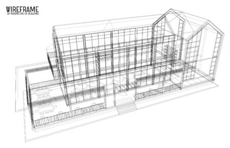 design drawing: 3d wireframe of building