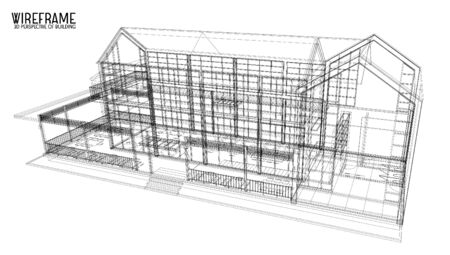 wireframe: 3d building of wireframe Illustration
