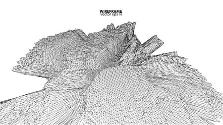 swirl: 3D wireframe of contour swirl Illustration