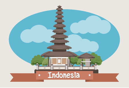 the temple: Indonesia landmark Ulun Danu temple Beratan Lake in Bali Illustration