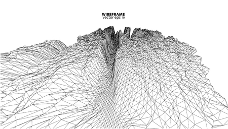 alpine: 3D wireframe of contour swirl Illustration