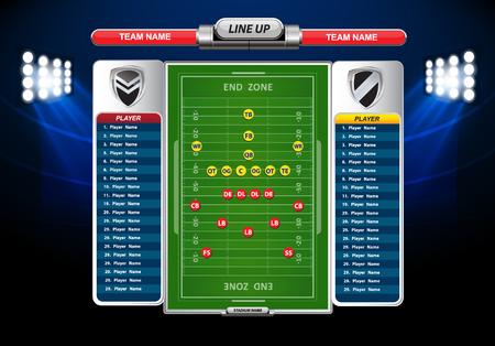 campo calcio: Campo di calcio americano con set di elementi infographic Vettoriali