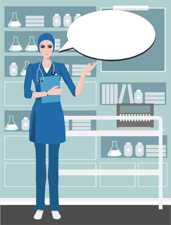 enfermera caricatura: doctor lindo joven suministro de informaci�n con una sonrisa en un cuidado background.Health bocadillo, sombrero de la enfermera, enfermera de la historieta. aislado en blanco.